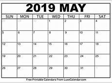 Blank May 2019 Printable Calendar Luxe Calendar