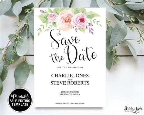 Floral Save The Date Card EditableTemplate Friday
