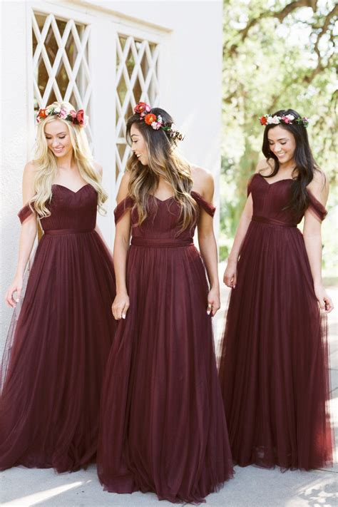 introducing berry  purple hued bridesmaid dresses  revelry  wed
