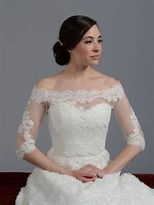 off shoulder alencon lace bridal bolero wedding jacket With wedding dress boleros and shrugs
