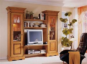 Anbauwand Wohnwand Wohnzimmer TV Regal Landhausstil Kiefer