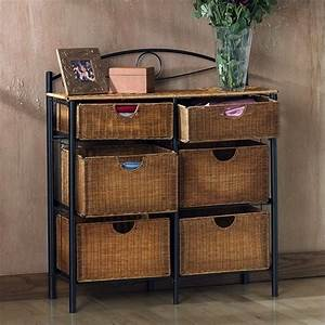 Southern enterprises lillian iron wicker storage chest in for In home furniture enterprise