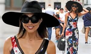 Myleene Klass Wears Maxi Dress With A Wide Hat And Ditches