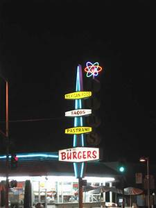 Burger joint googie neon sign East Los Angeles Boyle Heights