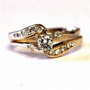 14k yellow gold diamond 52ct si2 h engagement ring With ring jacket wedding band
