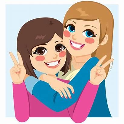 Hugging Friends Happy Lovely Cartoon Clipart Vector