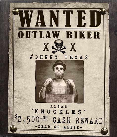 Outlaw Biker Wanted Sign | Pistol Pete's