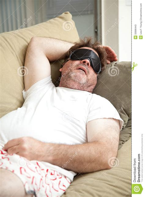 Lazy Man Asleep On Couch Stock Image Image Of Forty