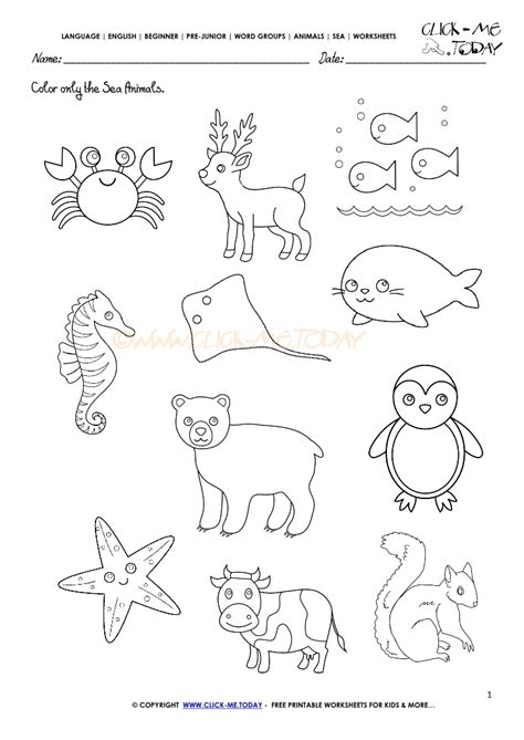 animals for worksheets 542 | sea animals worksheets 1