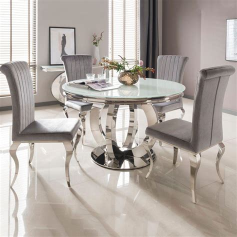 ohio cm white glass chrome  dining table
