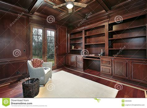 Cherry Wood Paneling Library Stock Photo