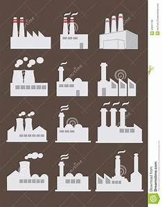 Industrial Factory Building Vector Icon Set Stock Vector ...