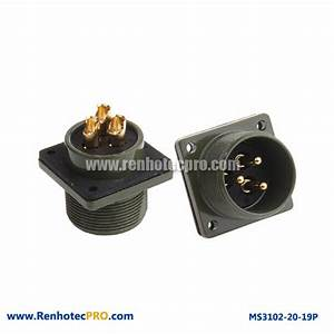 4 Hole Flange Mount MS 5015 Connector 3 Pin Plug MS 3102 ...