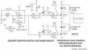 Latching Relay On  Off Switch Circuit