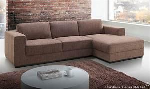 canape angle design tissu marron road canape angle pas With tapis de gym avec canapé droit 5 places pas cher