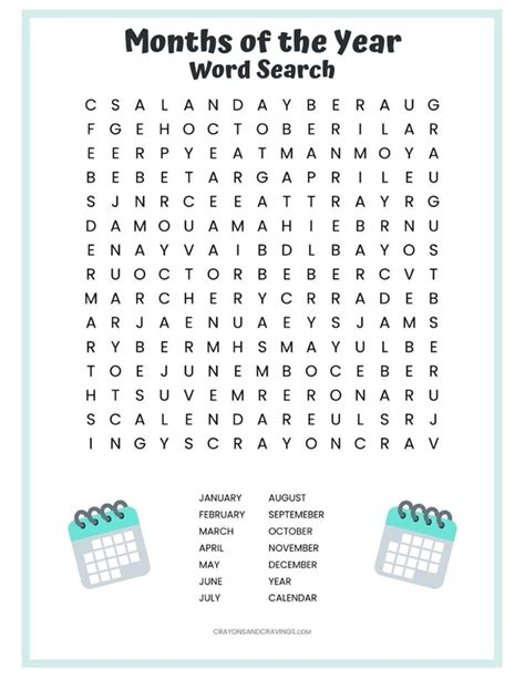 printable months   year word search puzzle
