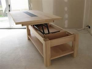 Table Basse Relevable Pas Cher : table basse bois rangement design en image ~ Teatrodelosmanantiales.com Idées de Décoration