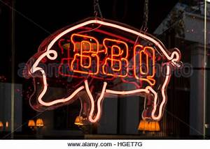 BBQ restaurant neon sign Stock Royalty Free Image