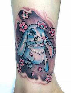 Calf Neotraditional Rabbit tattoo - Chronic Ink
