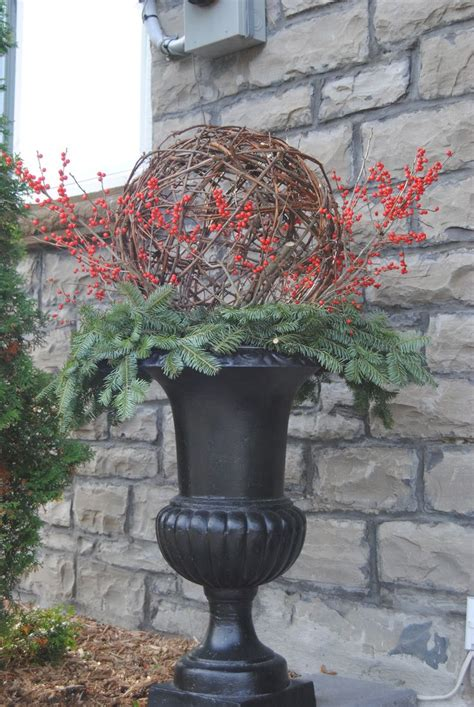 winter urn   grapevine ball christmas pretty