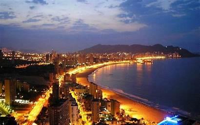 Spain Benidorm Night Beach Desktop Scenery Cities