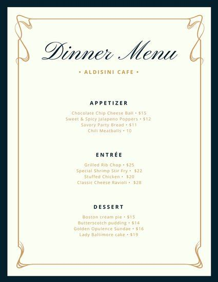 dinner menu template and blue fancy border dinner menu templates by canva