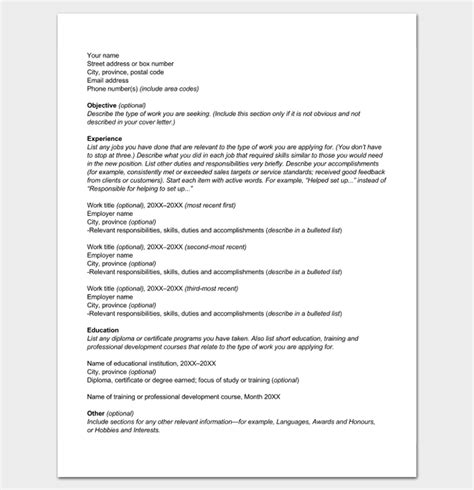 resume outline template 19 for word and pdf format