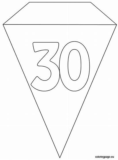 Banner Template Party Flag 30th Coloring Birthday