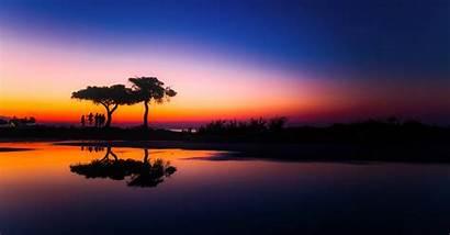 Sunset Panorama Greece Hdr Calm Water Scenery