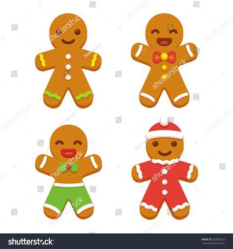 Cute Men Templates by Set Cute Cartoon Gingerbread Man Cookies Stock Vector