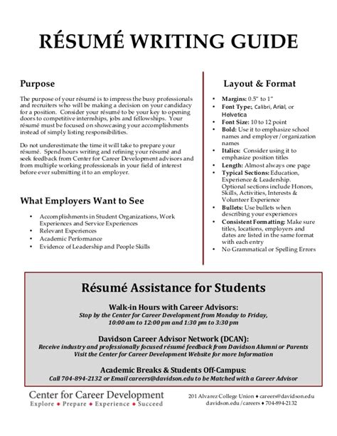 davidson college resume writing guide