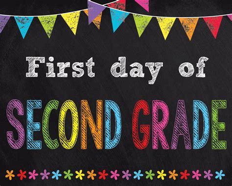 First Day Of Second Grade Sign Instant Download  First Day Of School Printable Chalkboard Sign