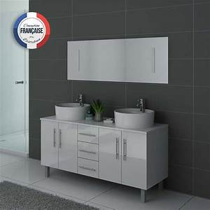 Meuble Vasque Sur Pied : meuble de salle de bain blanc 2 vasques meuble de salle de bain blanc dis989b ~ Teatrodelosmanantiales.com Idées de Décoration