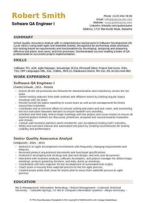 software qa engineer resume samples qwikresume