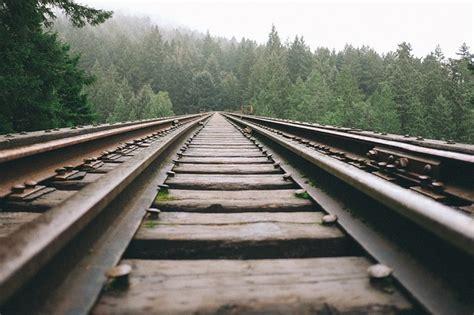 photo railway rails track railroad  image