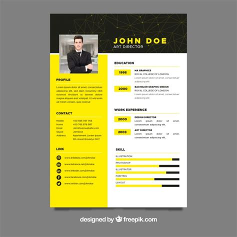 Resume Profile Generator by Yellow Cv Template Vector Free