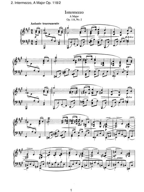 op 118 no 2 intermezzo free sheet music by brahms pianoshelf