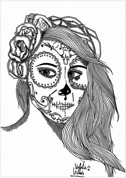 Coloring Muertos Dia Los Mexican Pages Adults