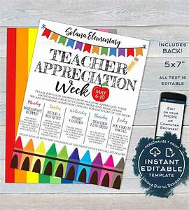 7 Day Week Schedule Template Teacher Appreciation Week Invitation Editable School