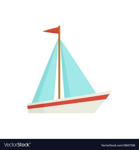 Little Boat Cartoon by Flat Cartoon Little Sailing Ship Boat Sailboat Vector Image