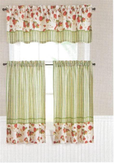 kitchen curtain tiers valance set apple fruit n stripes