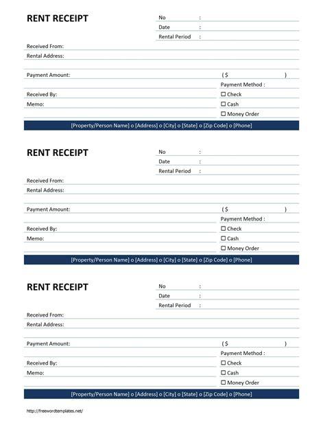 Rent Receipt Template Rent Receipt Template