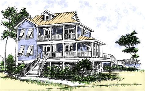 Beach House Plan With Two Story Great Room