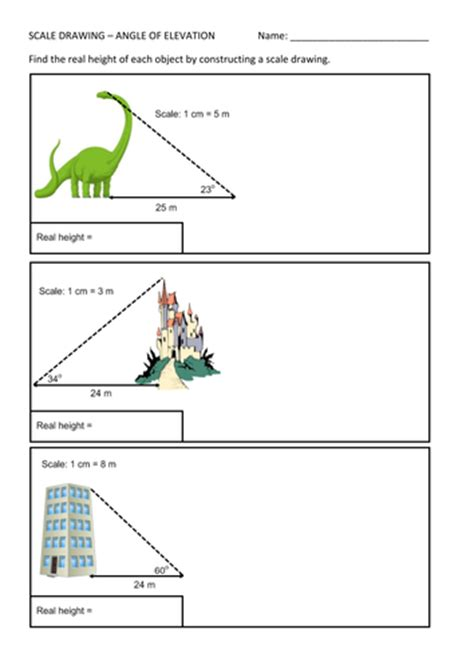 angle of elevation scale drawing worksheet by