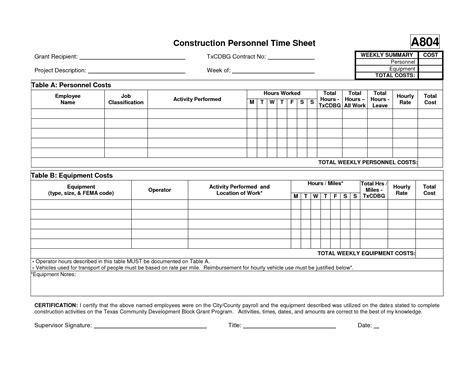 construction time sheet excel template best photos of construction time card template