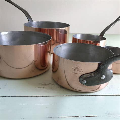 french vintage copper pots les metaux ouvres tin lined
