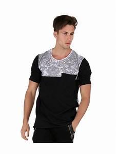 Tee Shirt Moulant Homme : tee shirt motifs ethniques noir fashion vetement homme pas cher ~ Dallasstarsshop.com Idées de Décoration