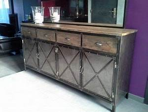 meuble industriel buffet acier et bois buffet de fete With meuble tv sur mesure design 10 meuble bar industriel comptoir bois metal micheli design