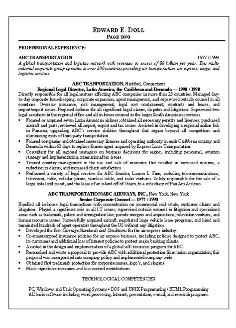 Attorney Resumes by Lawyer Resume Exle Resume Exles