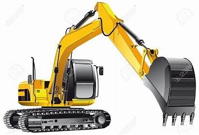 Excavator Yellow Backhoe Clipart Bucket Vector Gradients